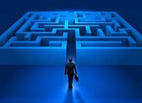 Businessman entering the labyrinth